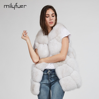 Milyfuer Natural Fox Fur Vest Women Full Pelt Sleeveless Short Style Solid Casual Autumn Winter Warm