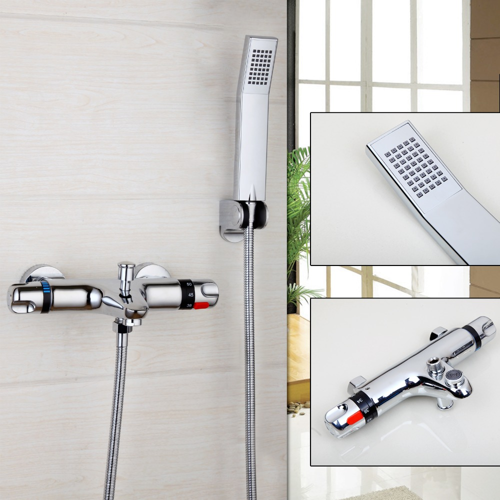 Classic Auto-Thermostat Control Shower Faucet Ceramic Wall Mounted Chrome Polished Hot Cold Water Mixer Eminent Bathroom Faucet wall mounted two handle auto thermostatic control shower mixer thermostatic faucet shower taps chrome finish