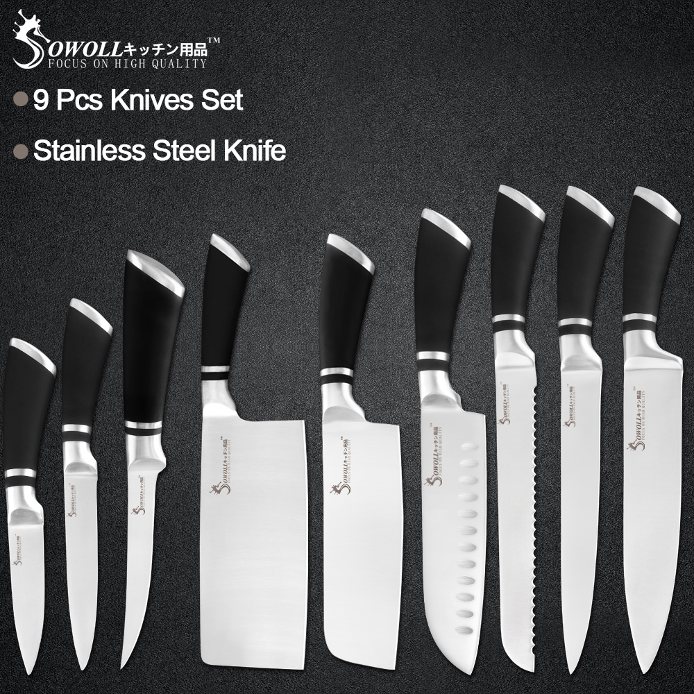 Sowoll Knives-Set Cleaver Non-Slip-Handle Chef Stainless-Steel Cooking 9pcs Household-Tools