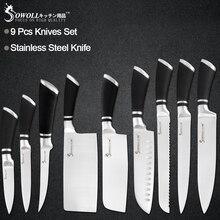 Sowoll 9 шт набор ножей из нержавеющей стали с нескользящей ручкой шеф-повара разделочные обвалки Кливер кухонные ножи кухонная утварь бытовые инструменты