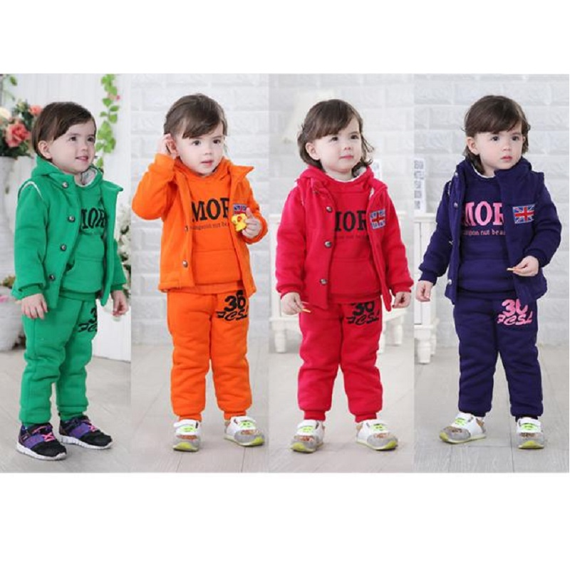 Fashion Baby Girls Clothes Suit Winter Fleece Boys Outerwear Trouser Hooded Coat Pant 3-pieces Clothing Set Children Sport Suits цена