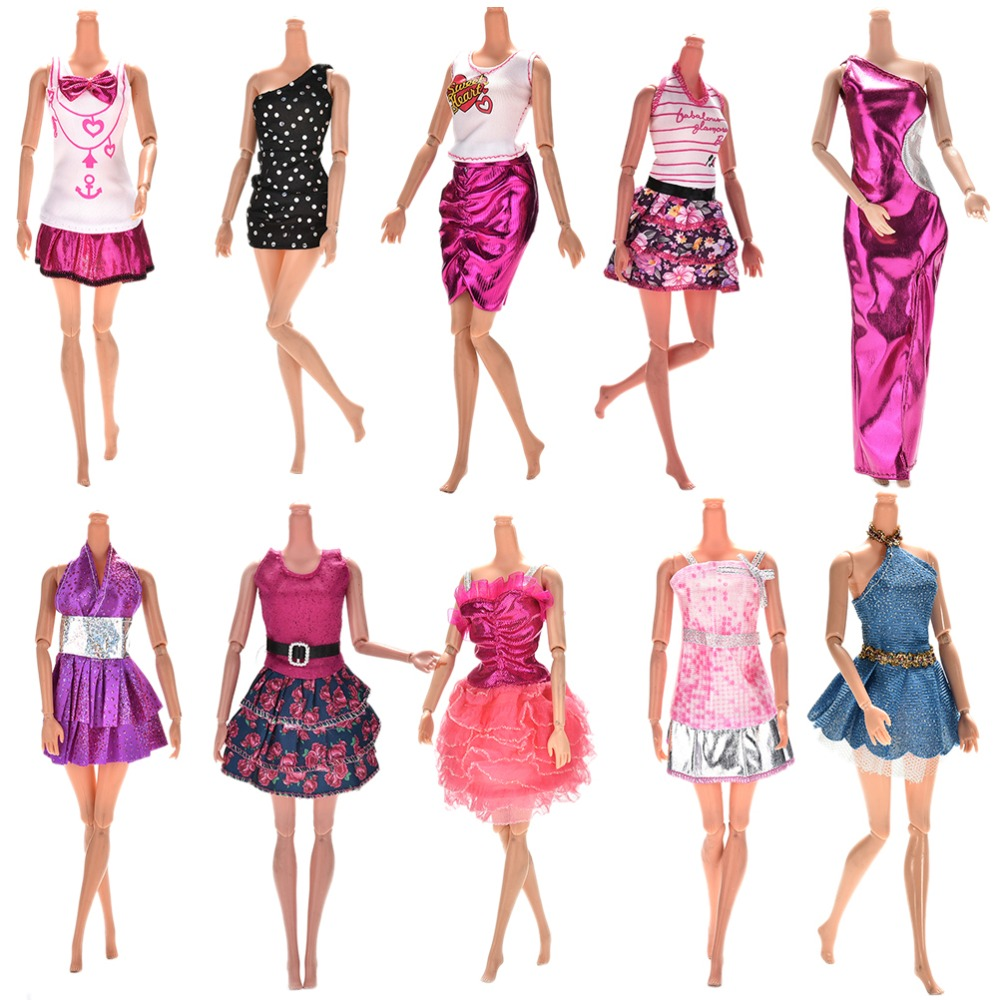 10 Pcs/lot Fashion Clothes Casual Party Dress Suits For Barbie Doll Best Gift Baby Toy Doll Clothing Sets Randomly Pick Hot Sell