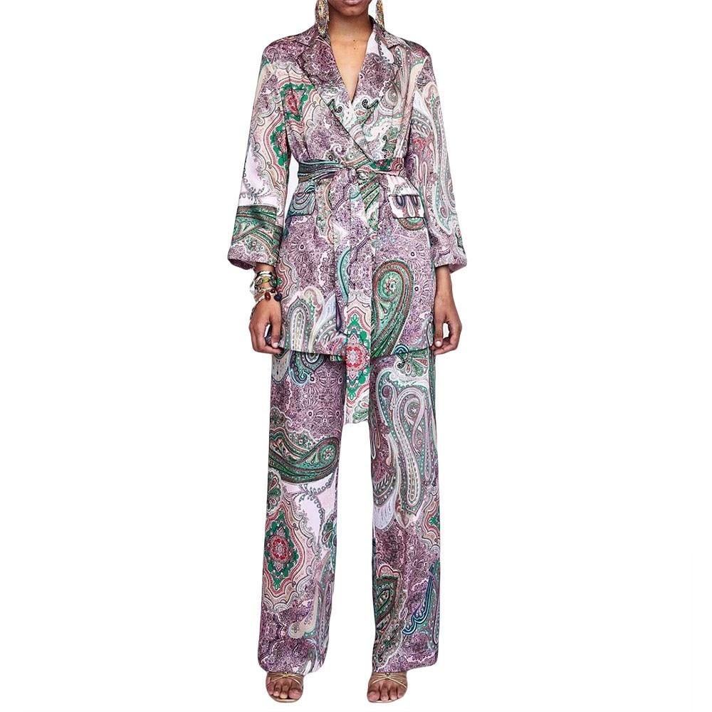 Casual Women Suits Vintage Pants Suit V-Neck Purple Printed Blazer Elastic Waist Long Pants Suits 2 Pieces Sets