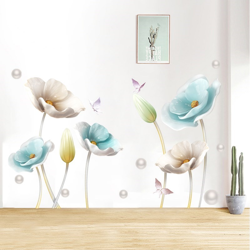 Chinese Style Flower 3D Wallpaper Wall Stickers Living Room Bedroom Bathroom Home Decor Decoration Poster in Wall Stickers from Home Garden