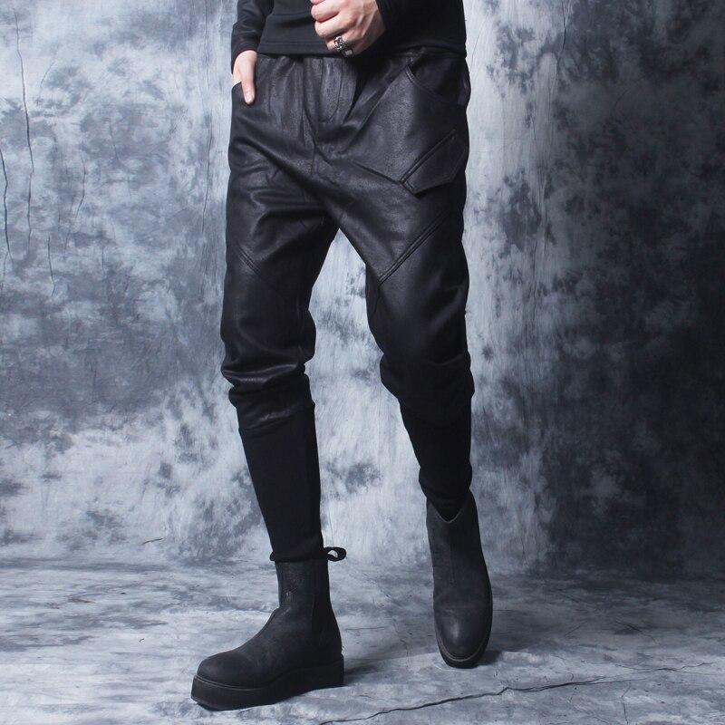 Зима 2018 новые мотоциклетные кожаные брюки мужские корейские версии tide плюс бархатные толстые ноги брюки мужские плотные брюки с заячьими у... - 3