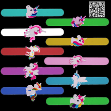 1pc Unicorn Jewelry Silicone Slap Bracelets Papa Wristband Cuff Bangles Kids Rainbow Rubber Toys Birthday Party