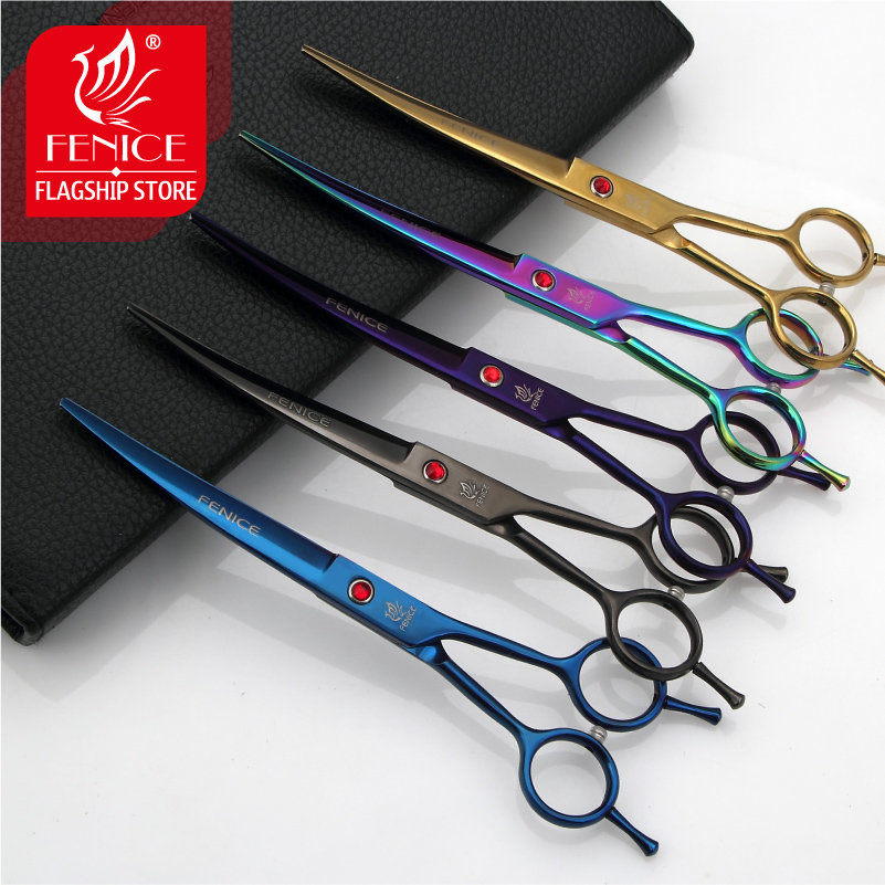Fenice desain baru gunting hewan peliharaan perawatan memotong gunting 7.0 inch pisau melengkung 25 derajat berwarna-warni pudel Bichon