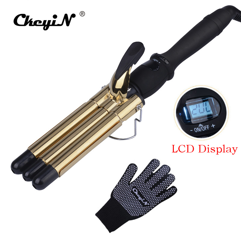 CkeyiN LCD Professional Hair Curling Iron Tourmaline Ceramic Triple Barrels Curler Big Wave Negative Ions Waver Styling Tools professional hair waver wave curler titanium ceramic hair curling iron 3 barrel clamp wave curler rollers styling tools