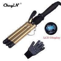 CkeyiN LCD Professional Hair Curling Iron Tourmaline Ceramic Triple Barrels Curler Big Wave Negative Ions Waver Styling Tools