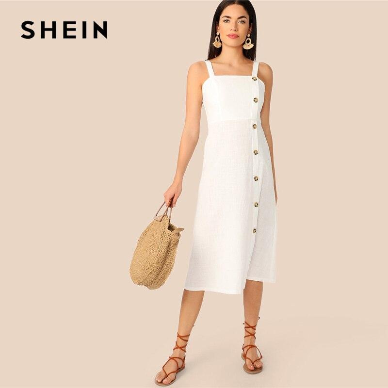 Шеин Белый однобортный Кнопка бака спереди квадратный средства ухода за кожей шеи длинное платье для женщин элегантные летние высокая тали...