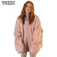 YNZZU 2017 Autumn Women Pink Loose Leather Bomber Jacket Zipper Fly Long Sleeve Pilot Jackets Oversized Coat Streetwears YO257