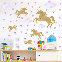 Cartoon Cute Animal Unicorns Wall Stickers Girls Bedroom Rainbow Wall Decal DIY Nursery Home Decor Sticker Dropshipping hot women backpack female corduroy backpack school bag for girls rucksack female teenager travel backpack lady bookbag mochila