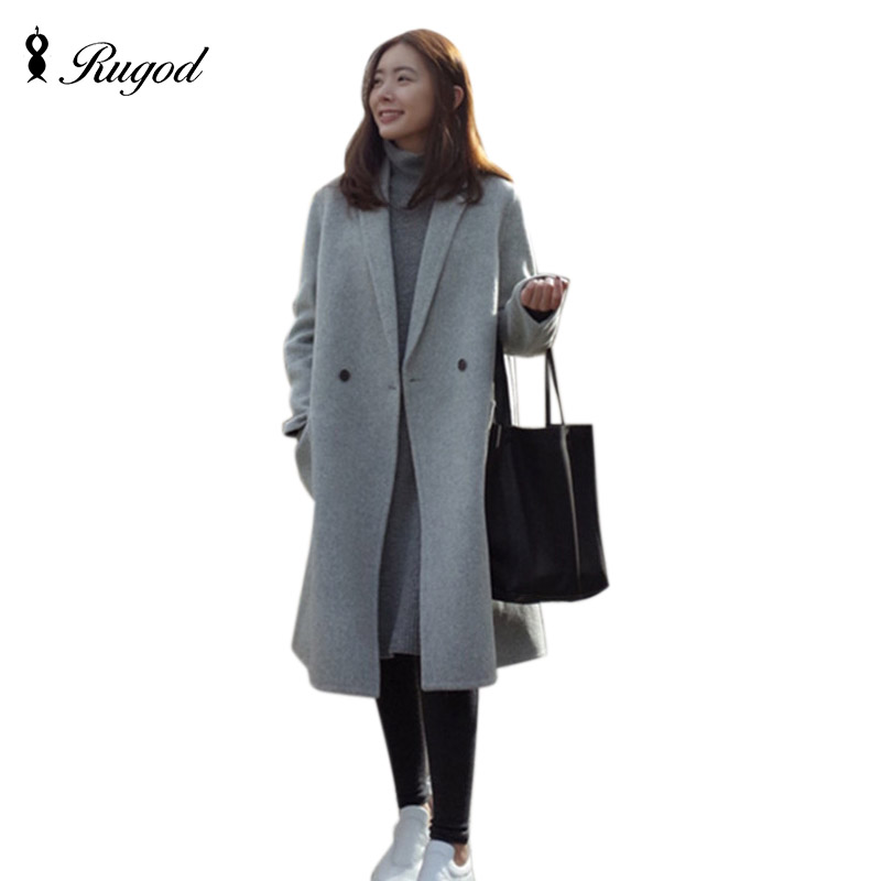 Rugod 2017 Coat Autumn Winter Elegant Women Woolen Coat Fashion Casual Double Breasted Wool