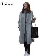 Rugod 2017 Coat Autumn  Winter Elegant  Women Woolen Coat Fashion Casual Double Breasted Wool Coats and Jackets casaco feminino