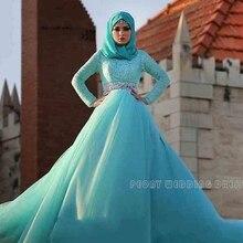 Modest Long Sleeve Muslim Wedding Dresses With Hijab Rhinestones Sash Blue Ball Gowns Wedding Dress Tulle