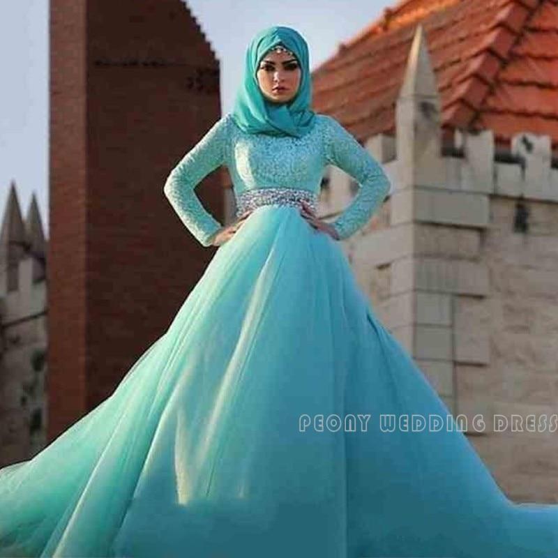 Modest Long Sleeve Muslim Wedding Dresses With font b Hijab b font Rhinestones Sash Blue Ball