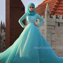 Modest Long Sleeve Muslim Wedding Dresses With Hijab Rhinestones Sash Blue Ball Gowns Wedding Dress Tulle Lace Bridal Gowns WM18