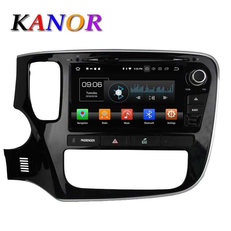 KANOR 4 + 32G Octa base Android 8.0 2din Voiture DVD Radio pour Mitsubishi Outlander 2013 2014 2015 Headunit GPS de Navigation De Voiture stéréo