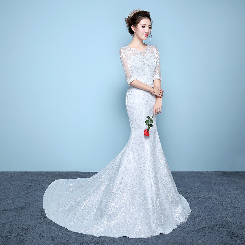 Beauty Emily New Bridal Dresses lace wedding gowns concise body slim ...