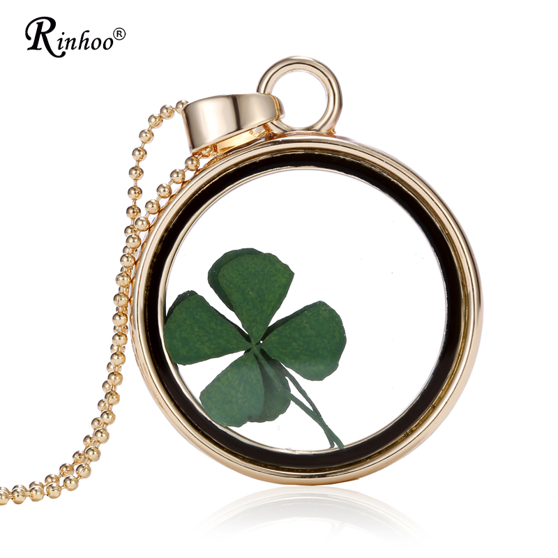 Handmade Natural Real Dried Flower Lucky Four Leaf Clover Resin Round Glass 35MM Locket Pendant Necklace For Women Jewelry(China)