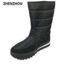 Gran tamaño Nuevo 2017 mujeres de Invierno Botas Zapatos de la Nieve Zapatos Negro cálido Impermeable Botas de Algodón En Más Tamaño Antideslizante talón grueso zapatos