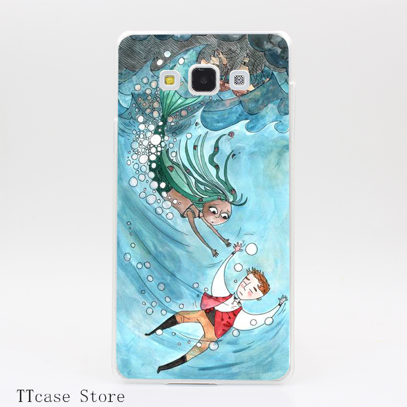 3597CA The Little mermaid saves the day Transparent Hard Cover Case for Galaxy A3 A5 A7 A8 Note 2 3 4 5 J5 J7 Grand 2 & Prime