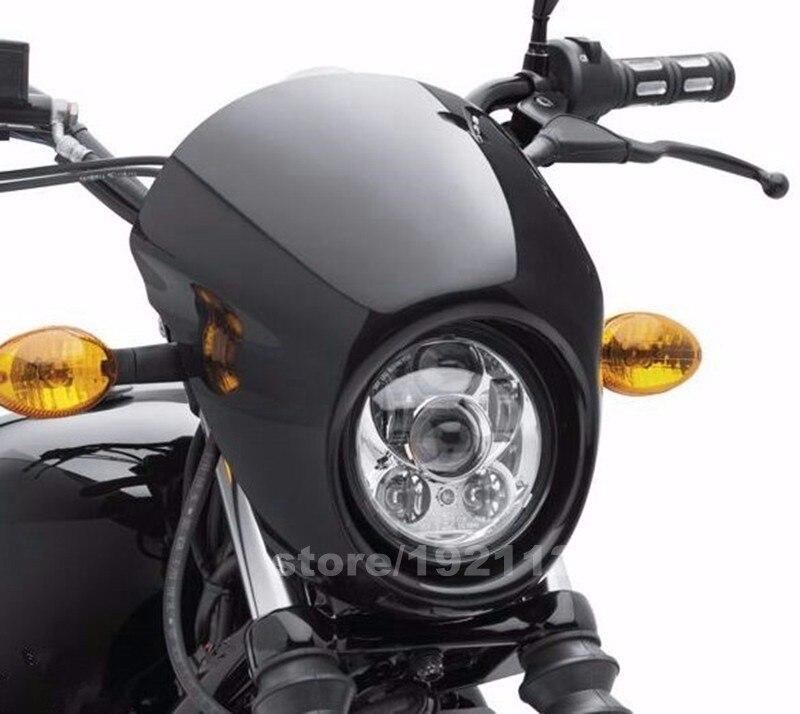 Black Headlight Fairing Mask Front Cowl Mount Headlamp Visor Bracket Set For Harley Sportster Cafe Drag Dyna FX XL 39mm Narrow Glide Fork cvdfbb