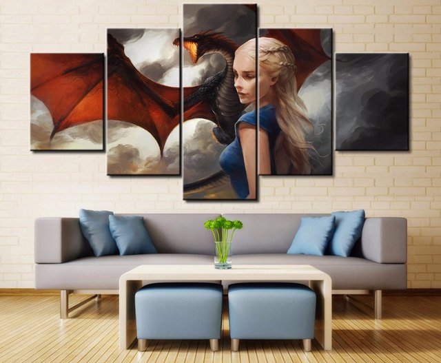 Online Shop 5 Panels Game of Thrones Dragon Canvas Paintings Home ...