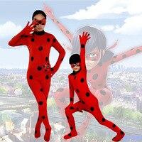 The Miraculous Ladybug Suit Cosplay Costumes Halloween Girls Marinette Ladybug Jumpsuits Kids Adult Full Lycra Zentai