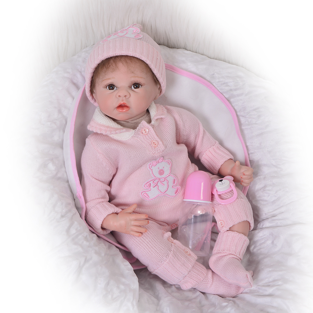 22 Inch Soft Silicone Newborn Baby Doll Red Face Reborn Babies Doll Lifelike Real Baby Doll For Children Birthday Gifts Play Toy