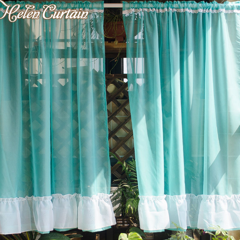 Helen Curtain 2 PCS Solid Short Tulle Curtains For Living