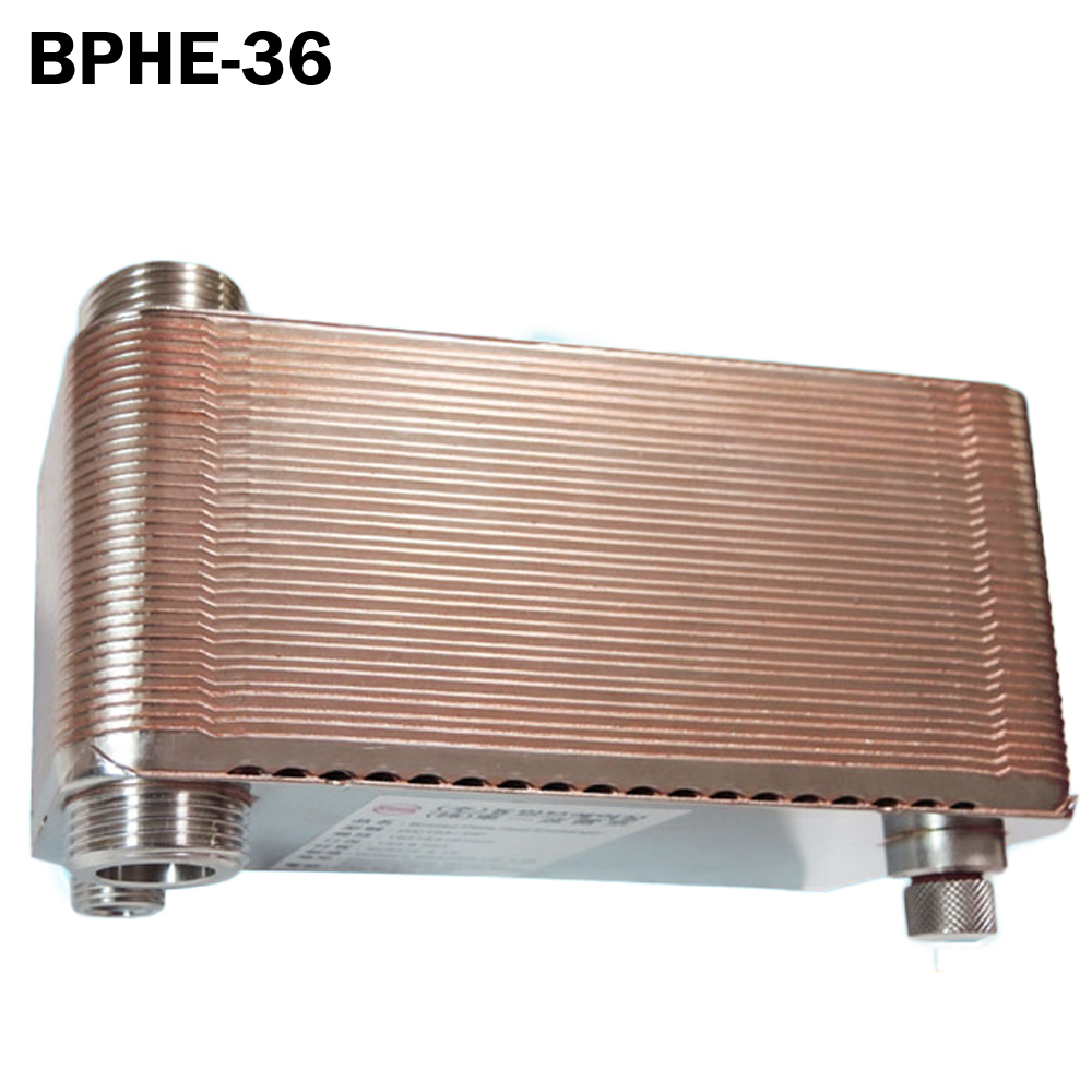 36 plates high efficiency Brazed Plate Heat Exchanger SUS304 Stainless Steel,small size heat exchanger 11kw heating capacity r410a to water and 4 5mpa working pressure plate heat exchanger is used in r410a heat pump air conditioner