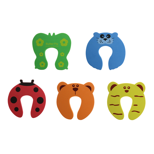 10pcs/Set Children Safety Cartoon Door Clamp Pinch Hand Security Stopper Cute Animal Baby Safety Door Stopper Clip Security 2019 5