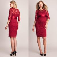 2017 Modest Celebrity Maternity Dresses Red Carpet Evening Gowns Sexy Half Sleeve Empire Lace Prom Dress