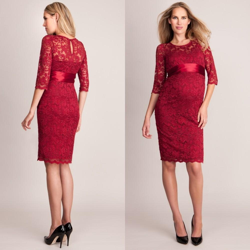 Maternity prom dress prom dress for pregant women - 2017 Modest Celebrity Maternity Dresses Red Carpet Evening Gowns Sexy Half Sleeve Empire Lace Prom Dress