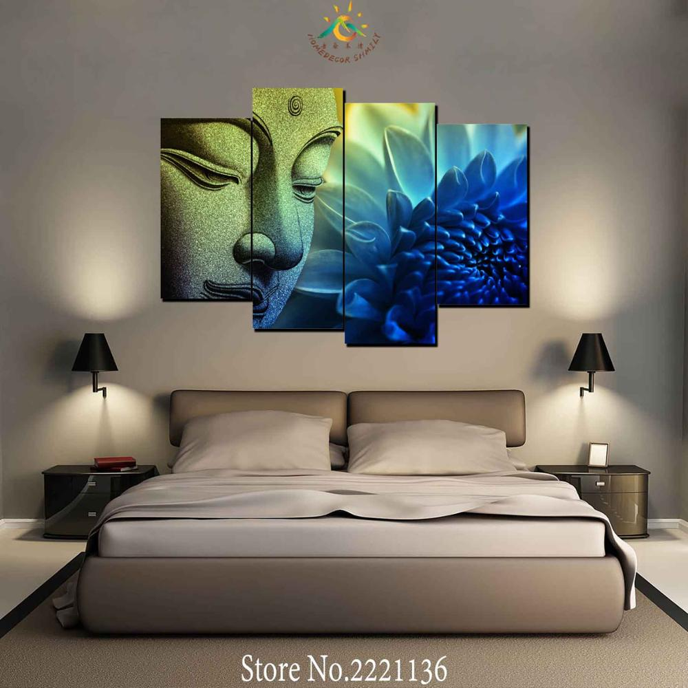 4 Pieces Blue Lotus Buddha Modern Wall Art Canvas Printed Painting HD Prints Modular Poster Wall Pictures for Home Decor in Painting Calligraphy from Home Garden