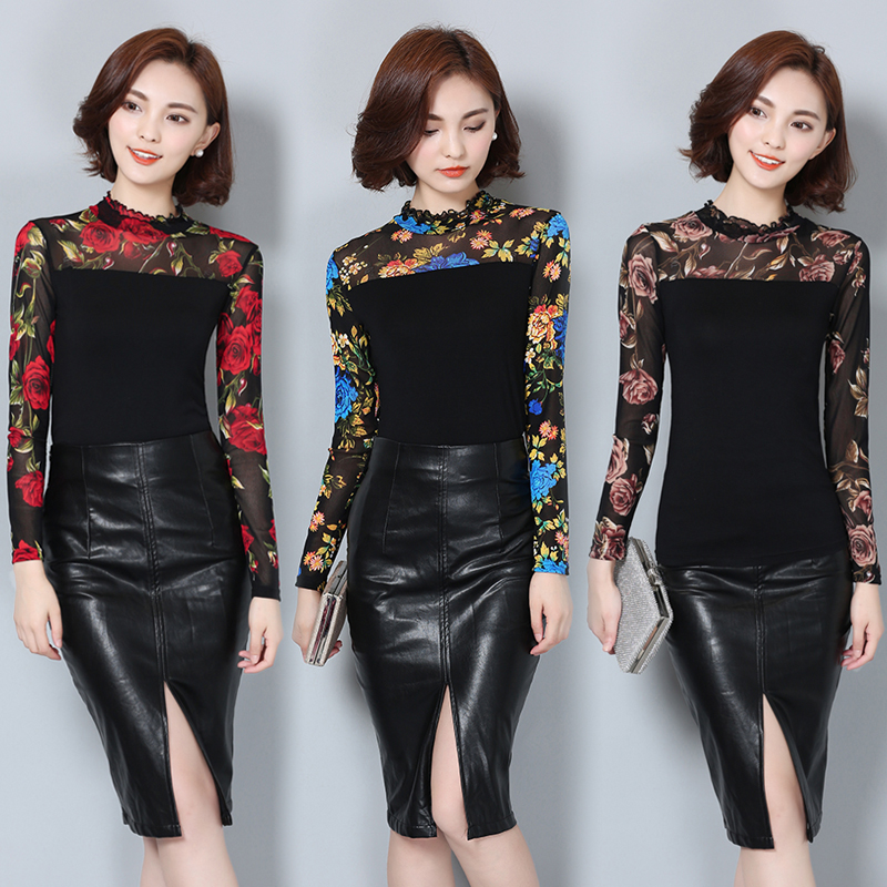 2016 New Fashion Fall Winter Women Blouse  Women Korean Style Women Basic Shirt Long Sleeved Floral Shirt Plus Size Top 60i 25 2