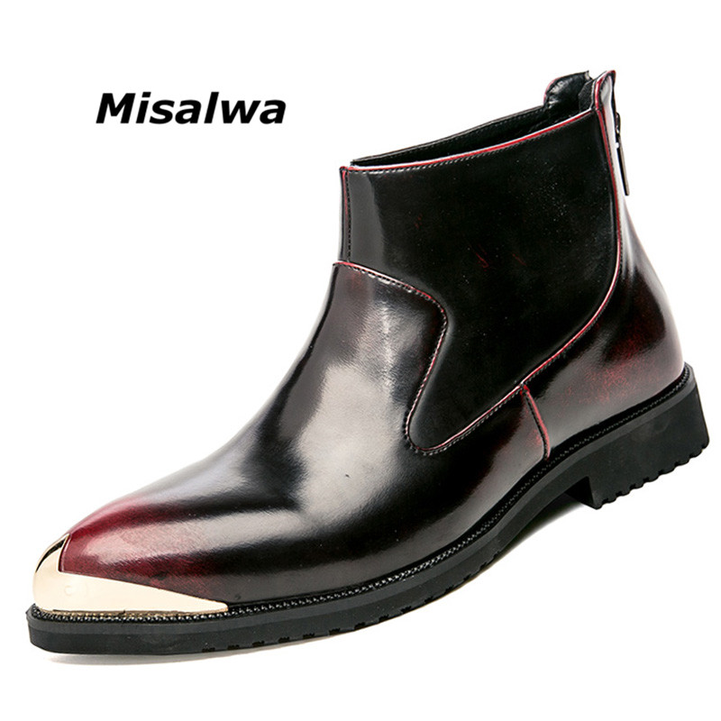 Misalwa Men s Chelsea Boots Fashion Gold Zipper Causal Autumn Ankle Boot Trending Comfortable Leather Man
