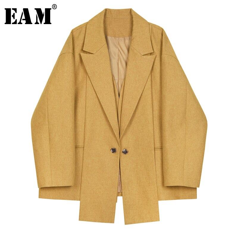 EAM 2019 New Spring Summer Lapel Long Sleeve Yellow Irregular Hem Brief Loose Big Size