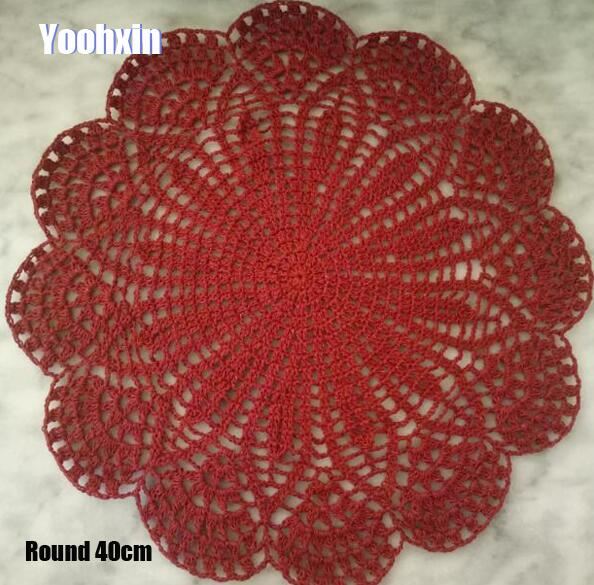 Home Textile Tablecloths Trend Mark Hot Cotton Round Placemat Cup Coaster Mug Kitchen Christmas Dinner Table Place Mat Cloth Lace Crochet Tea Coffee Doily Dish Pad