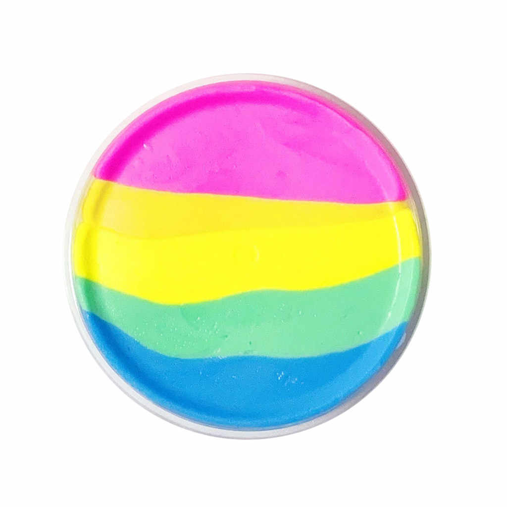 60ml children rainbow fairy tale cotton mud slime toy mud beautiful color butter rainbow birthday cake kids toys 2019 new