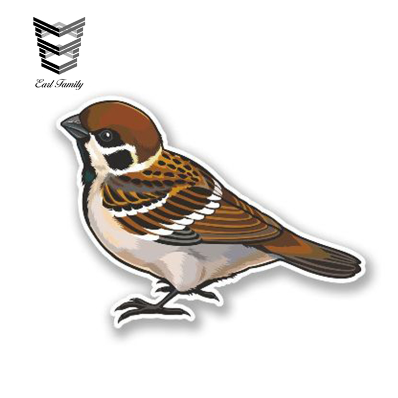 EARLFAMILY 13cm x 9cm Funny Small Brown Bird Vinyl Decal Laptop Motorbike Car Sticker for Truck Van Vehicle Glass Window Decals image