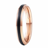 4MM Promised Rings For Women Lady Black Rose Gold Tungsten Carbide Wedding Band Girl S Single