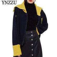 YNZZU 2019 Autumn Winter Patchwork Women Zipper Cardigan Loose Warm Long sleeve knitted jacket Chic Knit Sweater Outwear YO886