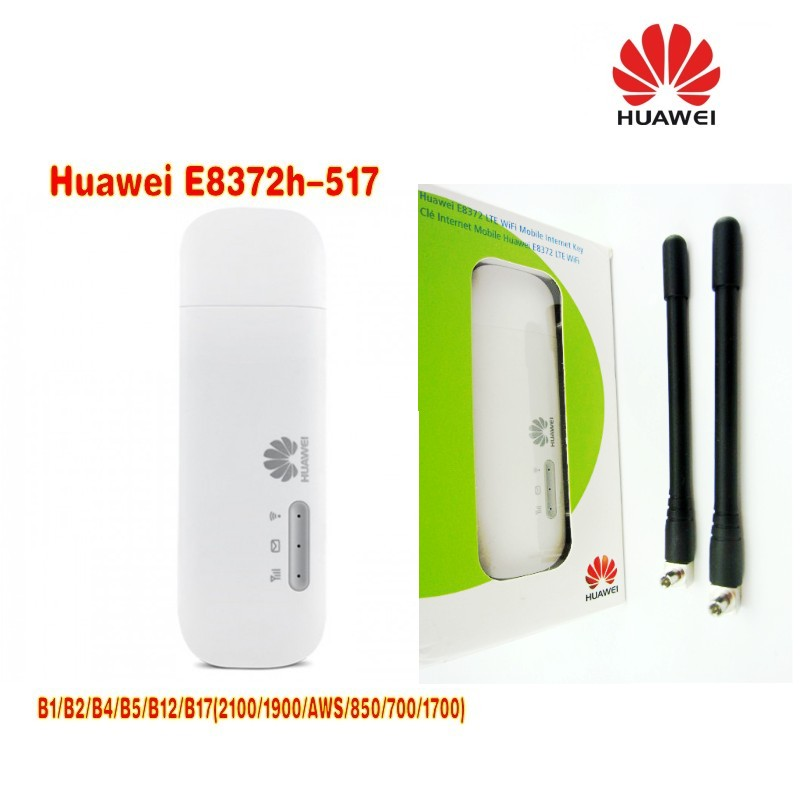 Lot of 2pcs Huawei E8372h-517 LTE WiFi Stick plus 2pcs antenna