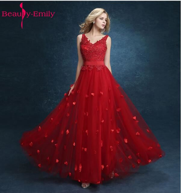 Beauty-Emily Red Flower Bride   Dress   Lace Up Vintage A-Line Floor Length   Evening     Dresses   2018 Party Formal Party Prom   Dresses