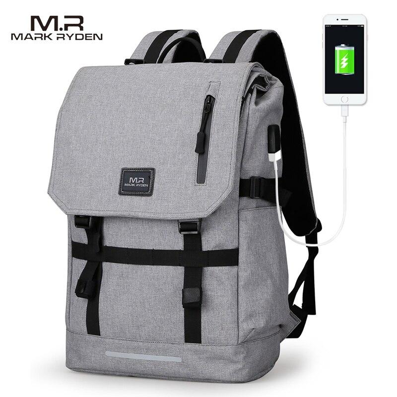 Марк Райден большой Ёмкость 15.6 дюймов Сумка для ноутбука человек usb Дизайн рюкзак черный рюкзак женские Школьные ранцы Mochila Masculina