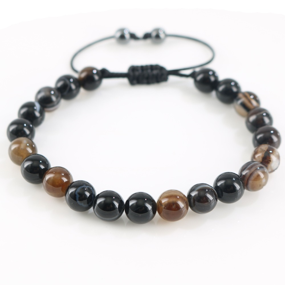Black Brown Real Natural Stones Handmade Stretch Braided Charm Beaded Bracelets Classic Style for Office Party Gifts