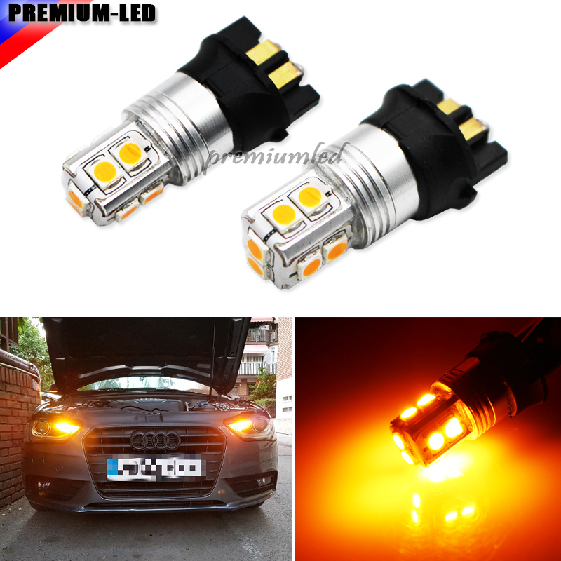 iJDM Amber Yellow Canbus 10-SMD PW24W PWY24W LED Bulbs For Audi A3 A4 A5 Q3 VW MK7 Golf CC Ford Fusion Front Turn Signal Lights ijdm amber yellow error free bau15s 7507 py21w 1156py xbd led bulbs for front turn signal lights bau15s led 12v