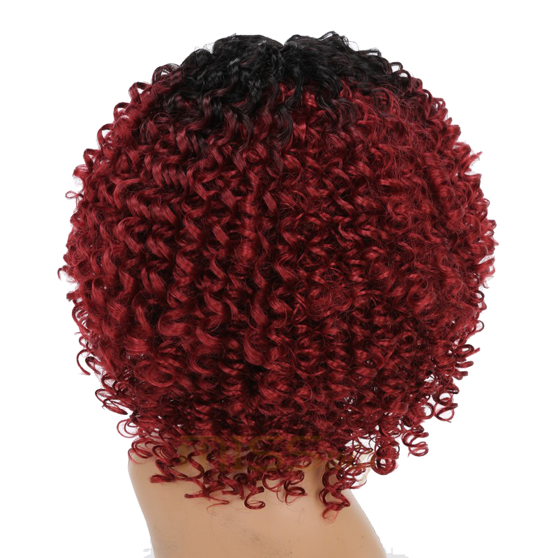 Image 4 - MISS WIG Long Black Ombre Red Wigs Kinky Curly Wigs for Black Women Synthetic Hair High Temperature Fiber Afro Women-in Synthetic None-Lace  Wigs from Hair Extensions & Wigs